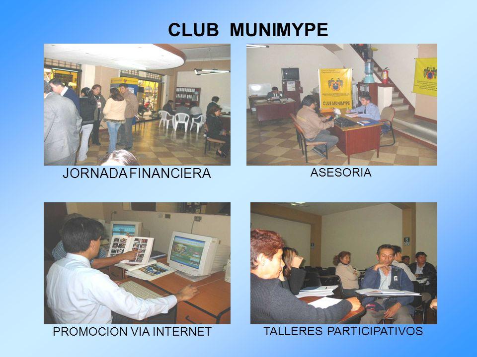 CLUB MUNIMYPE JORNADA FINANCIERA ASESORIA PROMOCION VIA INTERNET TALLERES PARTICIPATIVOS