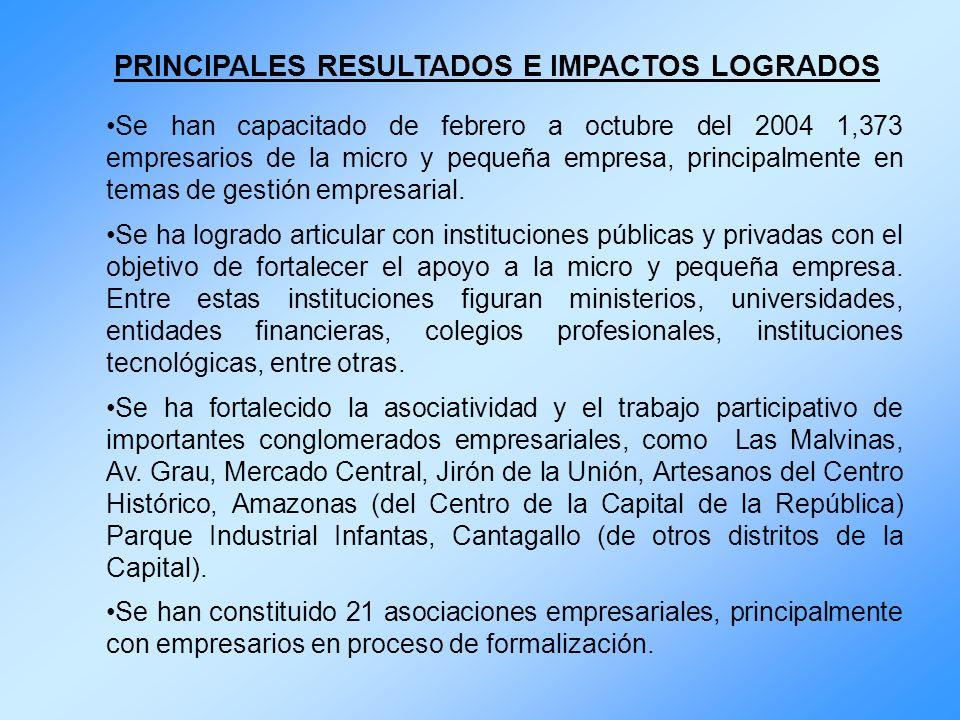 PRINCIPALES RESULTADOS E IMPACTOS LOGRADOS Se han capacitado de febrero a octubre del 2004 1,373 empresarios de la micro y pequeña empresa, principalm