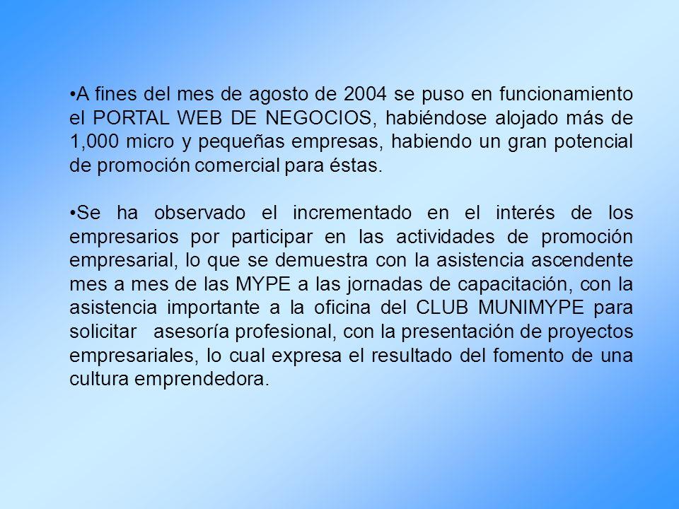 A fines del mes de agosto de 2004 se puso en funcionamiento el PORTAL WEB DE NEGOCIOS, habiéndose alojado más de 1,000 micro y pequeñas empresas, habi