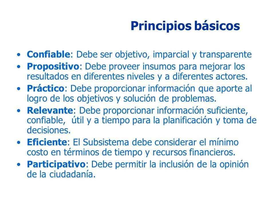 Principios básicos Confiable: Debe ser objetivo, imparcial y transparente Propositivo: Debe proveer insumos para mejorar los resultados en diferentes niveles y a diferentes actores.