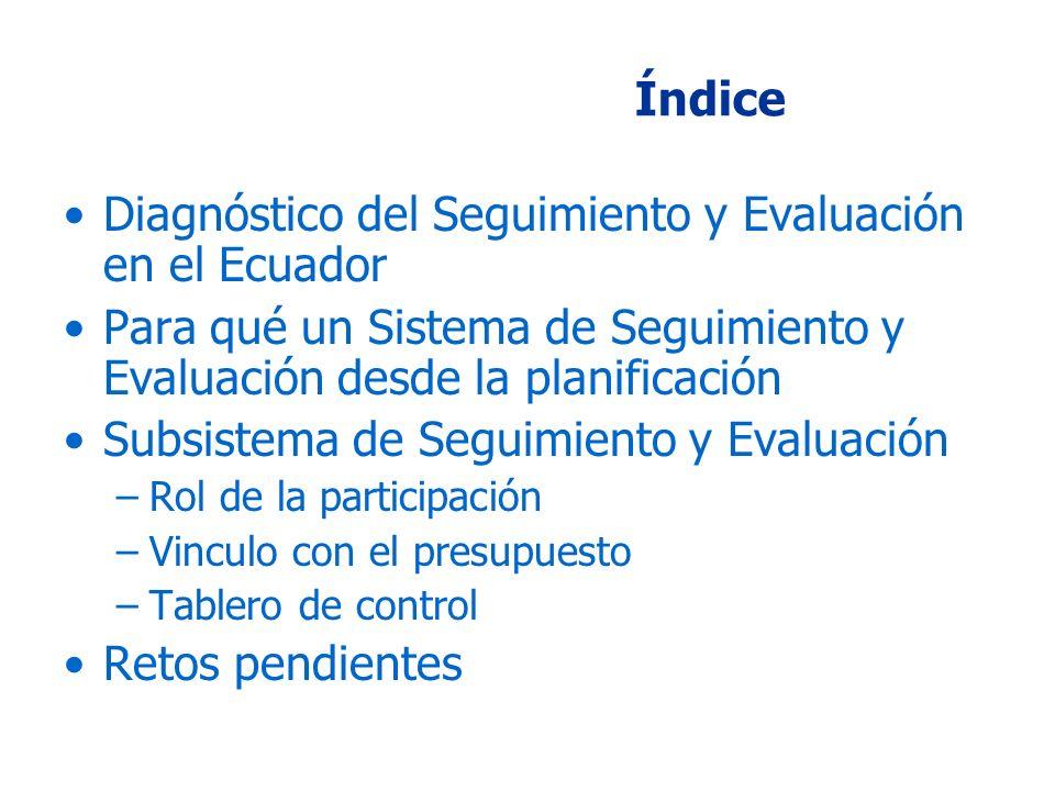 Índice Diagnóstico del Seguimiento y Evaluación en el Ecuador Para qué un Sistema de Seguimiento y Evaluación desde la planificación Subsistema de Seguimiento y Evaluación –Rol de la participación –Vinculo con el presupuesto –Tablero de control Retos pendientes