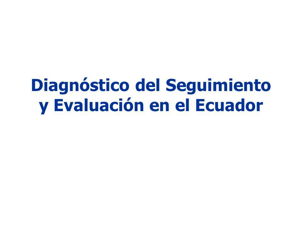 Hechos históricos En el Ecuador no ha existido un proceso de Seguimiento y Evaluación sistemático.