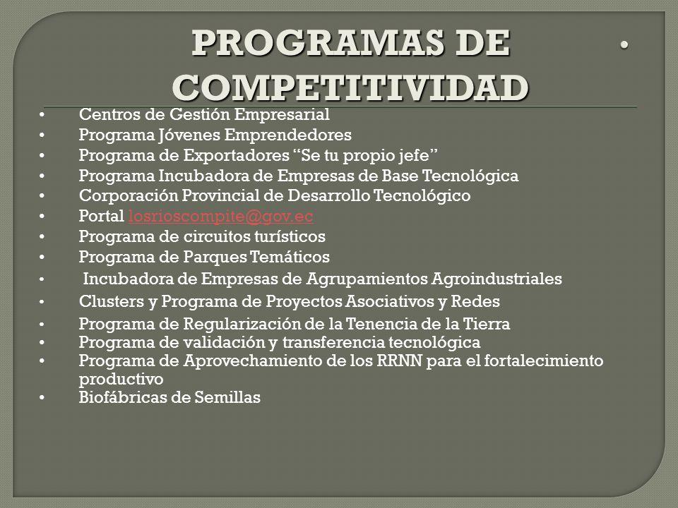 Centros de Gestión Empresarial Programa Jóvenes Emprendedores Programa de Exportadores Se tu propio jefe Programa Incubadora de Empresas de Base Tecno