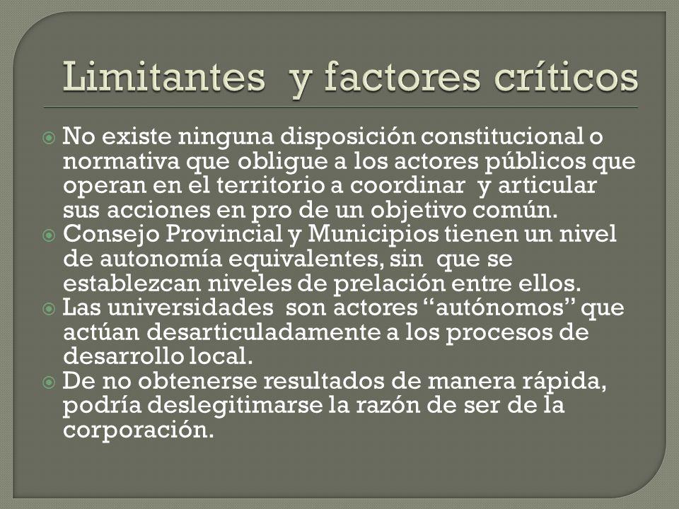 No existe ninguna disposición constitucional o normativa que obligue a los actores públicos que operan en el territorio a coordinar y articular sus ac
