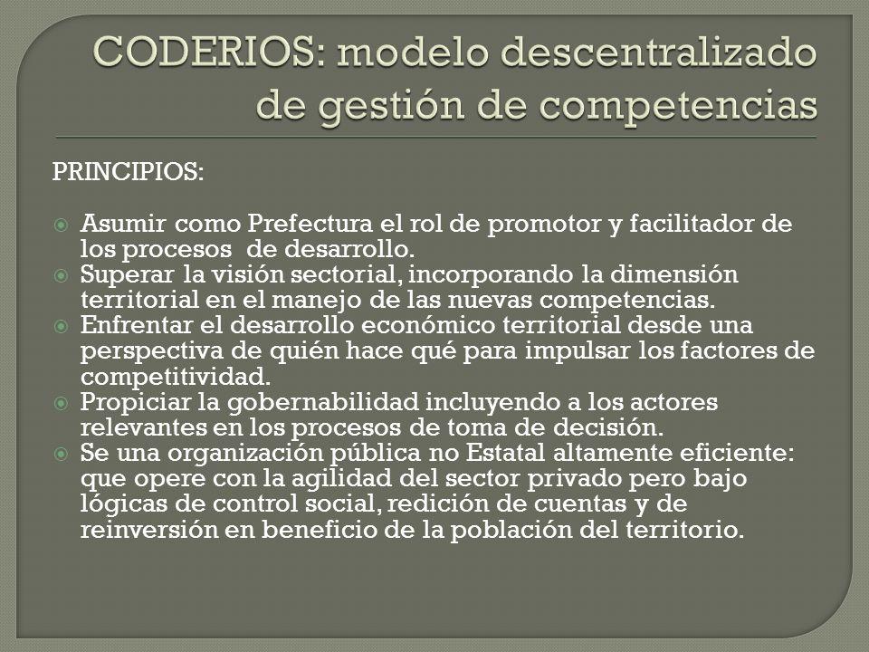 PRINCIPIOS: Asumir como Prefectura el rol de promotor y facilitador de los procesos de desarrollo. Superar la visión sectorial, incorporando la dimens