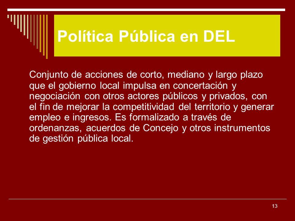 13 Conjunto de acciones de corto, mediano y largo plazo que el gobierno local impulsa en concertación y negociación con otros actores públicos y priva