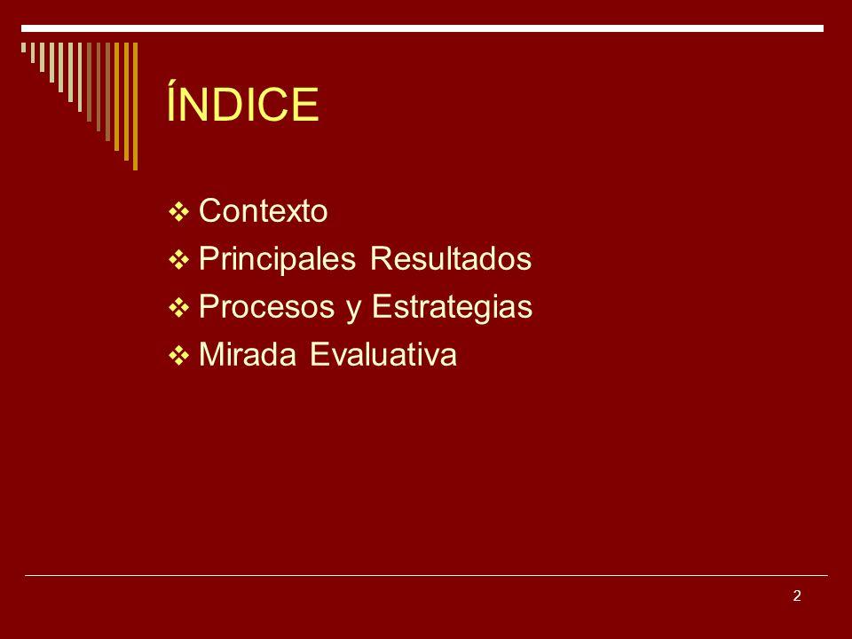 2 ÍNDICE Contexto Principales Resultados Procesos y Estrategias Mirada Evaluativa