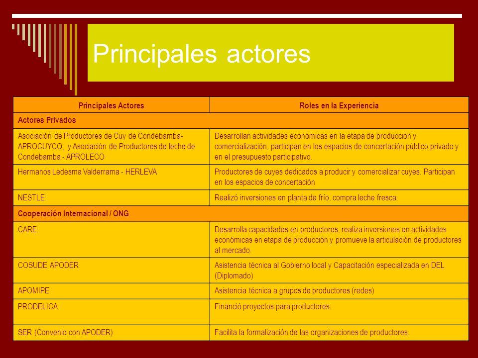 25 Principales actores Principales ActoresRoles en la Experiencia Actores Privados Asociación de Productores de Cuy de Condebamba- APROCUYCO, y Asocia