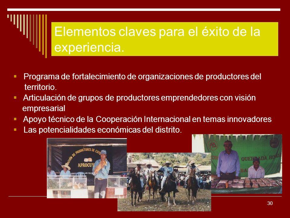 30 Programa de fortalecimiento de organizaciones de productores del territorio. Articulación de grupos de productores emprendedores con visión empresa