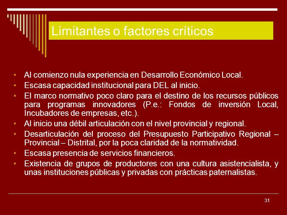 31 Al comienzo nula experiencia en Desarrollo Económico Local. Escasa capacidad institucional para DEL al inicio. El marco normativo poco claro para e