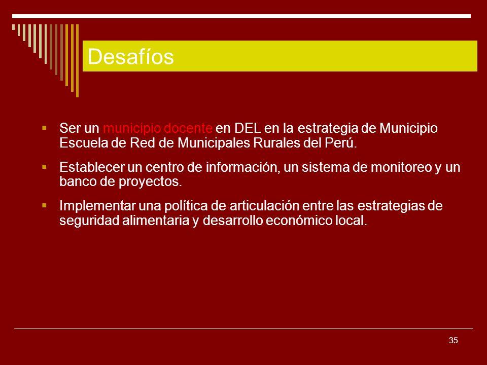 35 Ser un municipio docente en DEL en la estrategia de Municipio Escuela de Red de Municipales Rurales del Perú. Establecer un centro de información,