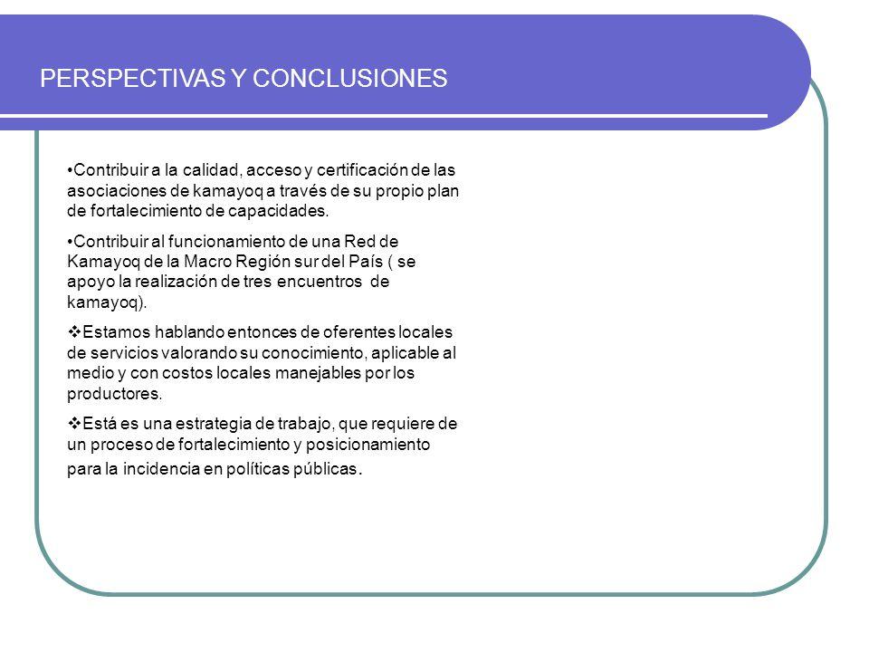 PERSPECTIVAS Y CONCLUSIONES Contribuir a la calidad, acceso y certificación de las asociaciones de kamayoq a través de su propio plan de fortalecimien