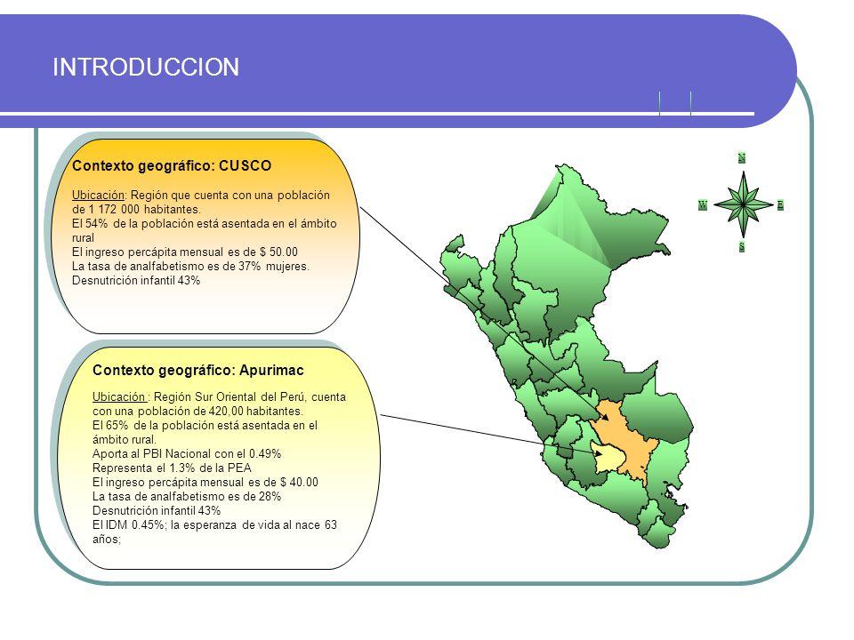 INTRODUCCION Contexto geográfico: CUSCO Ubicación: Región que cuenta con una población de 1 172 000 habitantes. El 54% de la población está asentada e