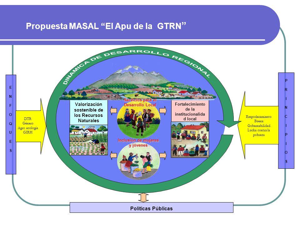ENFOQUESENFOQUES Políticas Públicas Propuesta MASAL El Apu de la GTRN PRINCIPIOSPRINCIPIOS Valorización sostenible de los Recursos Naturales Fortaleci