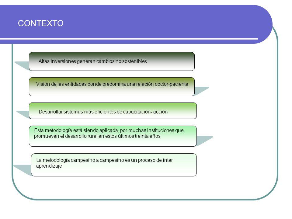 Campo experimental Campo del productor Extensión KamayoqFamilia Sistema de producción familiar Entorno: complejo, diverso y riesgoso Modelo convencional Modelo basado en el inter aprendizaje Receta Se formalizó el sistema de extensión.