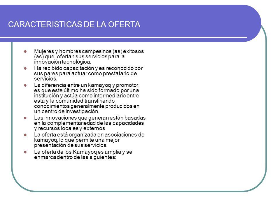 TemasKamayoqLugaresFamilias atendidas Riego Agricultura Ganadería Fruticultura Apicultura Horticultura Forestación Cuyecultura 20 30 55 20 15 10 5 15 Cusco y Apurimac 600 1800 2200 500 150 200 100 600 TOTAL1706150 CARACTERISTICAS DE LA OFERTA Fuente: Elaboración propia Base de datos 2006 Proyecto MASAL