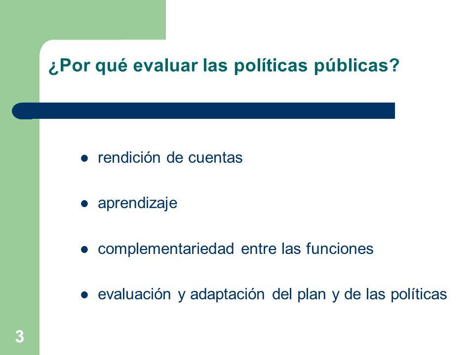 3 ¿Por qué evaluar las políticas públicas? rendición de cuentas aprendizaje complementariedad entre las funciones evaluación y adaptación del plan y d
