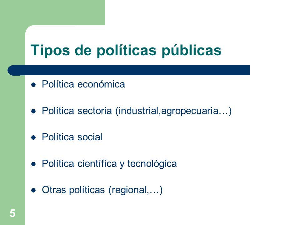 5 Tipos de políticas públicas Política económica Política sectoria (industrial,agropecuaria…) Política social Política científica y tecnológica Otras