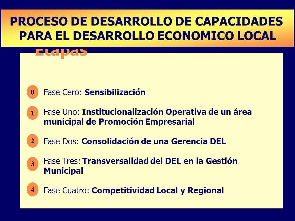 Etapas Fase Cero: Sensibilización Fase Uno: Institucionalización Operativa de un área municipal de Promoción Empresarial Fase Dos: Consolidación de un