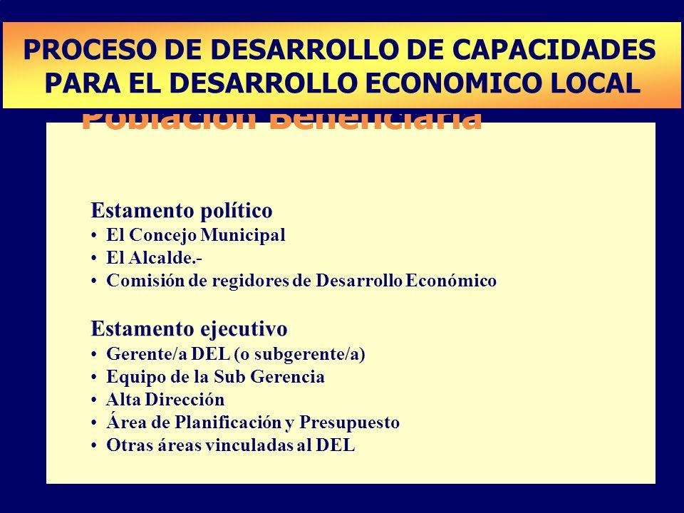 Población Beneficiaria Estamento político El Concejo Municipal El Alcalde.- Comisión de regidores de Desarrollo Económico Estamento ejecutivo Gerente/