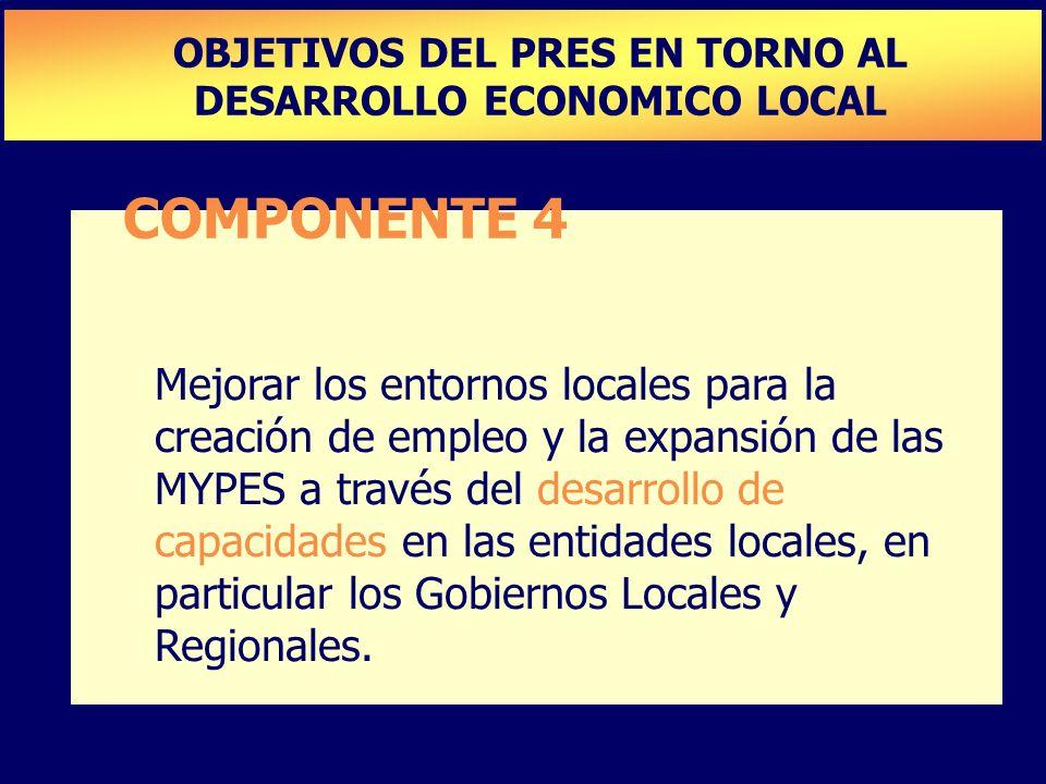 COMPONENTE 4 Mejorar los entornos locales para la creación de empleo y la expansión de las MYPES a través del desarrollo de capacidades en las entidad