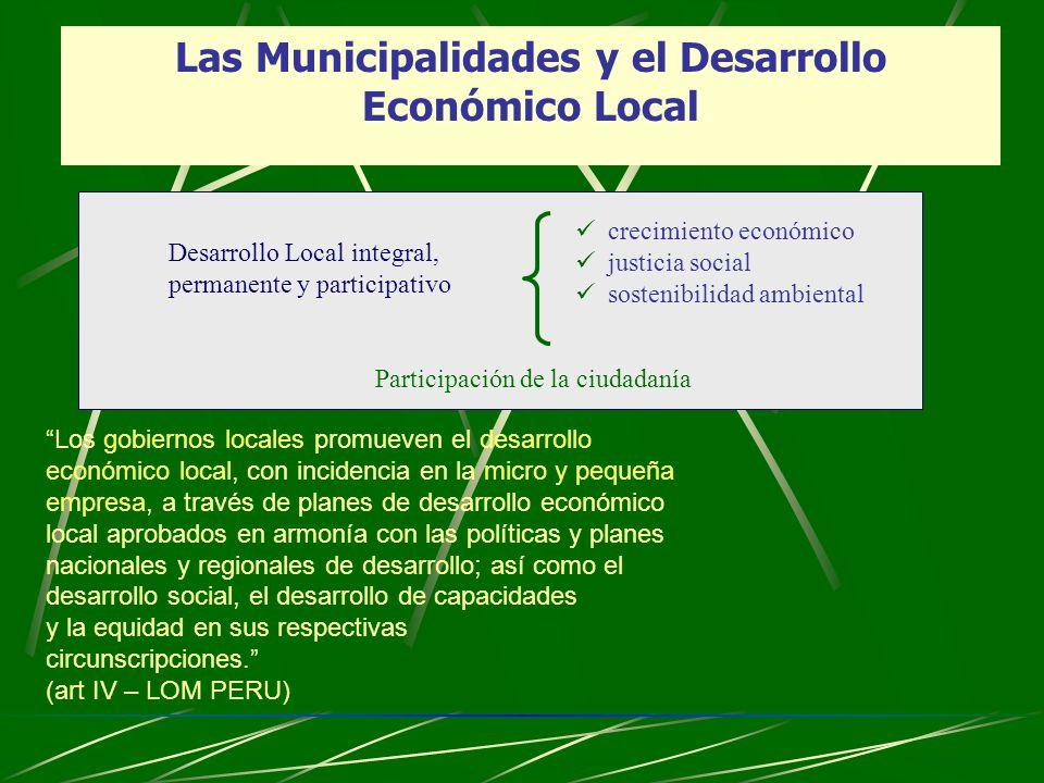 Las Municipalidades y el Desarrollo Económico Local Los gobiernos locales promueven el desarrollo económico local, con incidencia en la micro y pequeñ