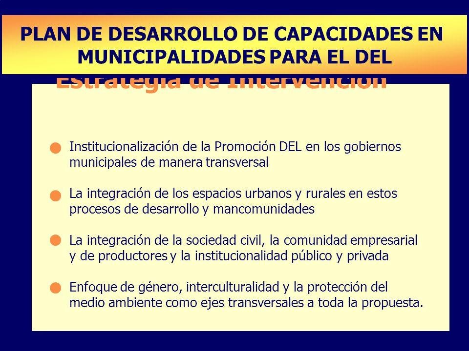 Estrategia de Intervención Institucionalización de la Promoción DEL en los gobiernos municipales de manera transversal La integración de los espacios