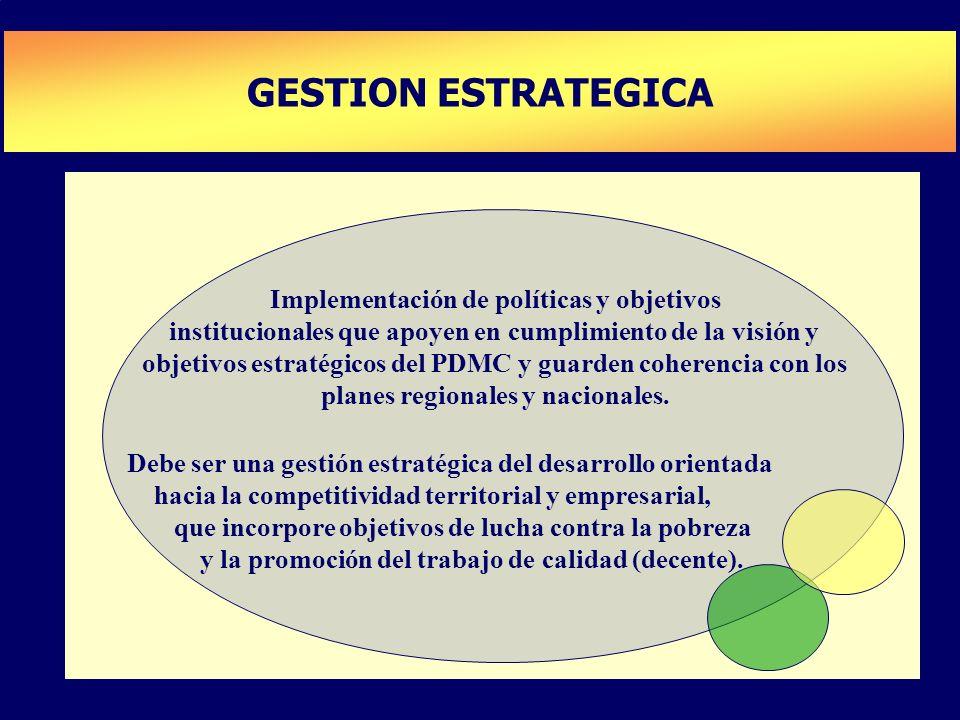 PLAN DE DESARROLLO DE CAPACIDADES GESTION ESTRATEGICA Implementación de políticas y objetivos institucionales que apoyen en cumplimiento de la visión