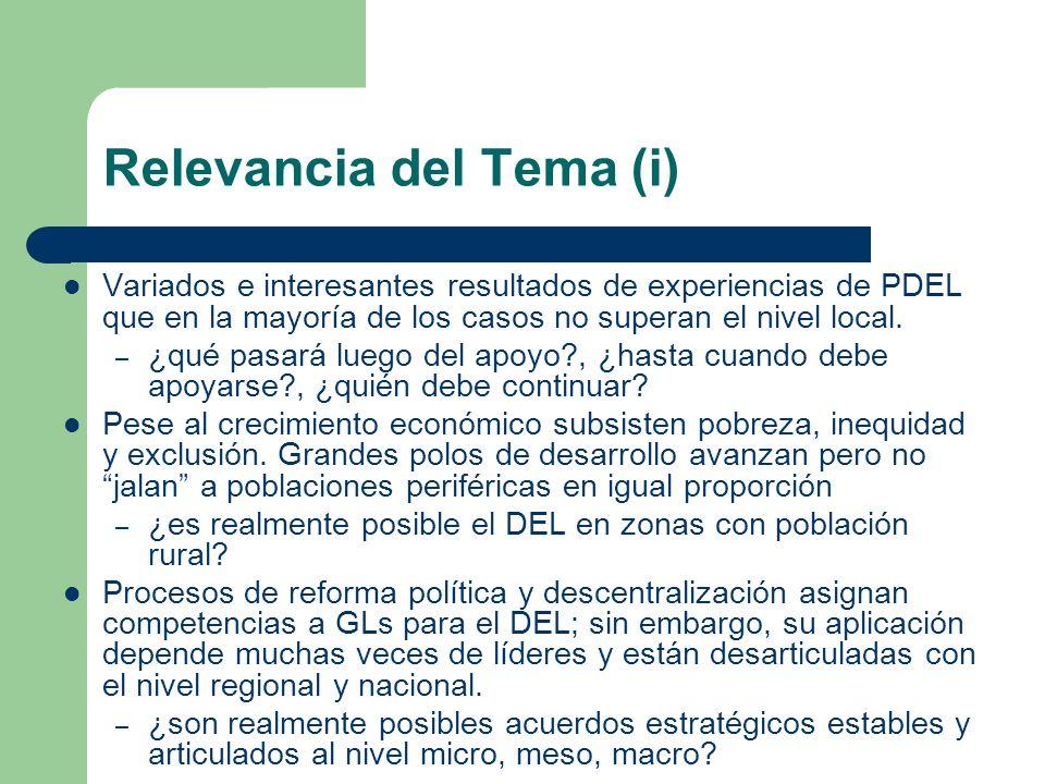 Relevancia del Tema (i) Variados e interesantes resultados de experiencias de PDEL que en la mayoría de los casos no superan el nivel local. – ¿qué pa