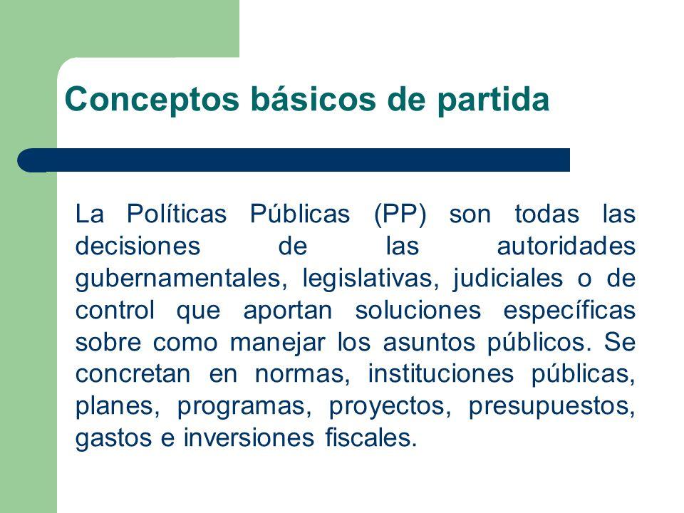 La Políticas Públicas (PP) son todas las decisiones de las autoridades gubernamentales, legislativas, judiciales o de control que aportan soluciones específicas sobre como manejar los asuntos públicos.
