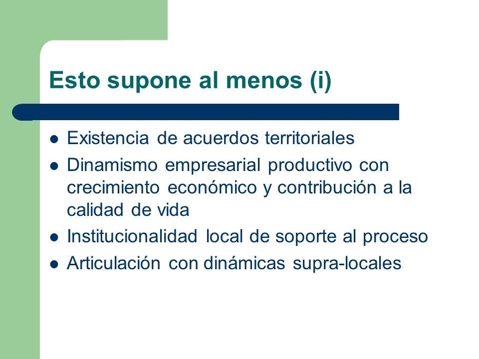 Esto supone al menos (i) Existencia de acuerdos territoriales Dinamismo empresarial productivo con crecimiento económico y contribución a la calidad de vida Institucionalidad local de soporte al proceso Articulación con dinámicas supra-locales