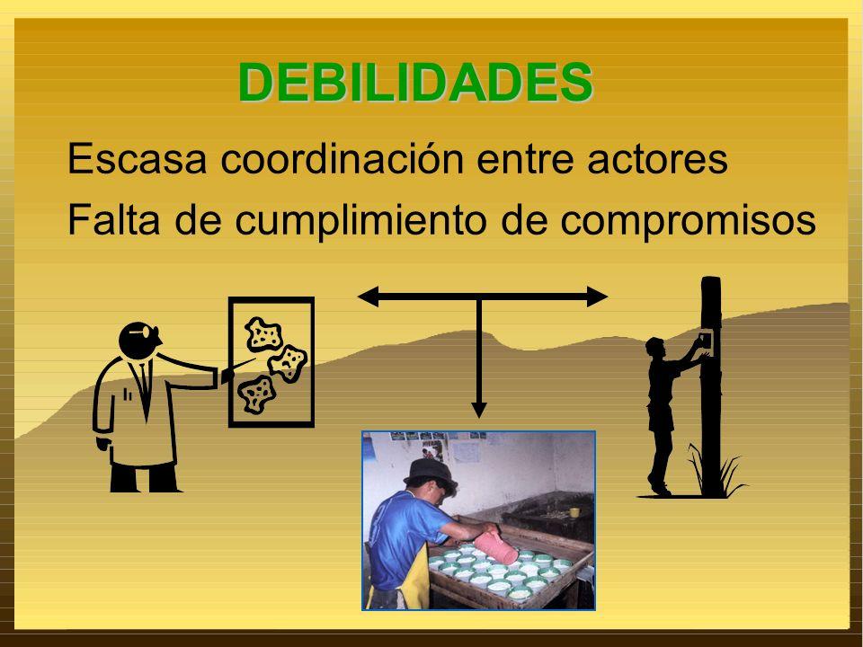 Escasa coordinación entre actores DEBILIDADES Falta de cumplimiento de compromisos