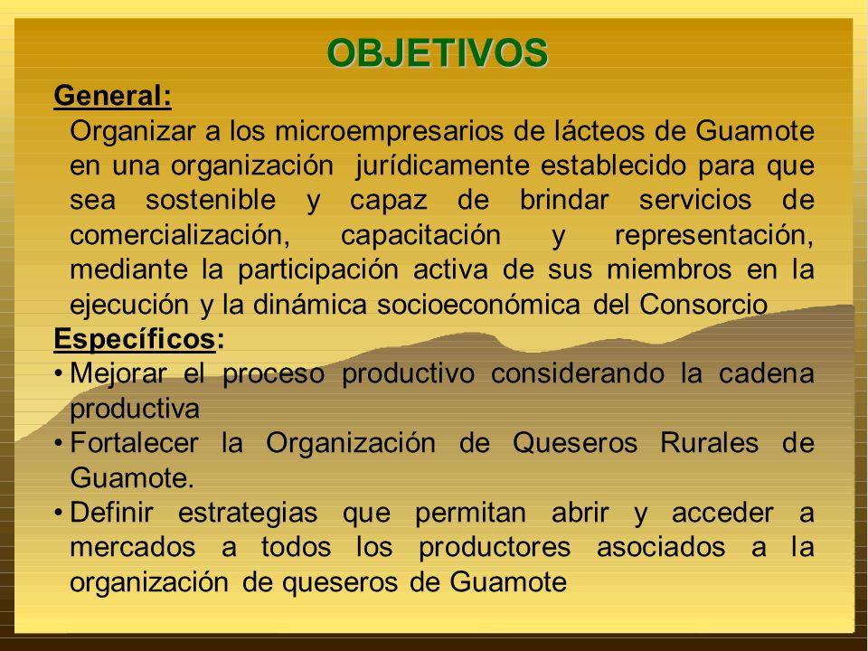 OBJETIVOS General: Organizar a los microempresarios de lácteos de Guamote en una organización jurídicamente establecido para que sea sostenible y capa