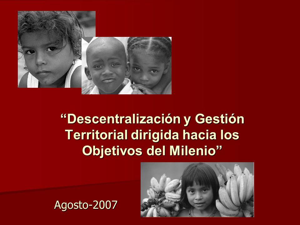 Líneas de recomendación Gestión: Gestión: Sistema de planificación (nacional/regional; funcional/territorial) Concertación (Coaliciones público-privadas) Participación (Sistema) Alineamiento (ODM) Presupuestos (Calidad) Redes sociales (Productividad) Descentralización sectorial (educación, salud, protección social,ambiente) Política local (alianzas para el desarrollo) Institucionales: Institucionales: Descentralización (estrategia) Transferencias condicionadas Compensación territorial (interprovincial) Redistribución social (intraprovincial e intercantonal) Competencias (exclusivas, concurrentes) Representación (congruencia nacional y funcional) Gobernabilidad (atribuciones ejecutivas y legislativas territoriales) Niveles de gobierno (objetivos, funciones y competencias)