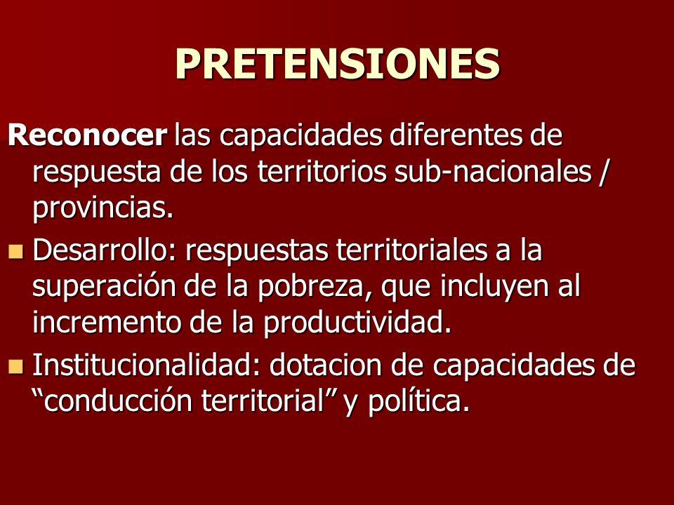 PRETENSIONES Reconocer las capacidades diferentes de respuesta de los territorios sub-nacionales / provincias.