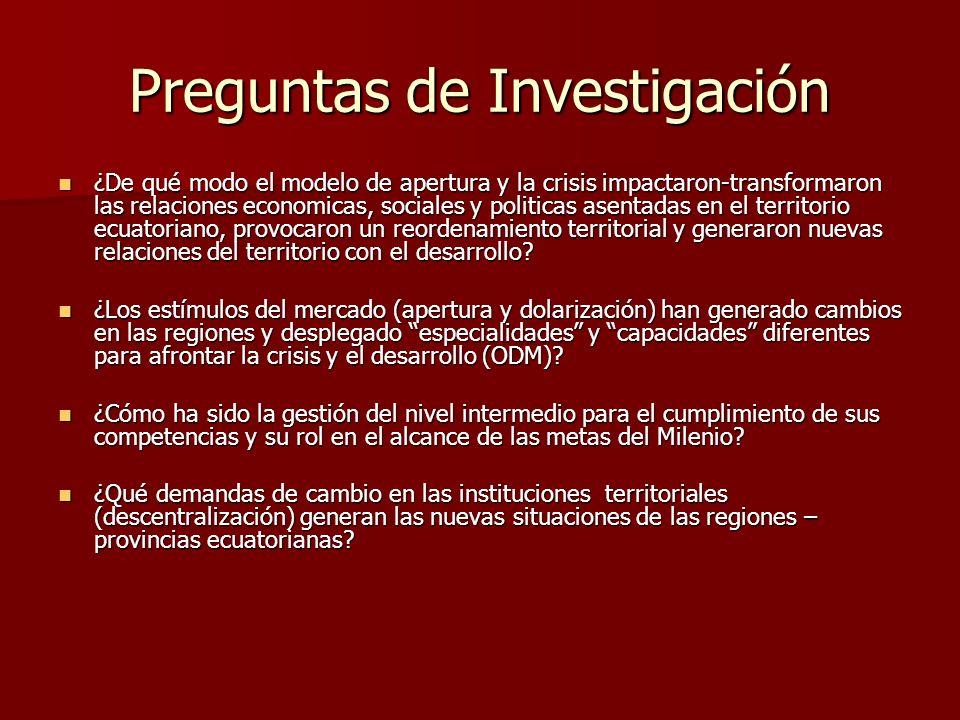 Configuración de la gestión territorial del Estado ecuatoriano en relación a las tendencias de desarrollo internacionales y nacionales, en los temas (objetivos- metas) del milenio, en relación con los niveles de gobierno y con referencia a las provincias seleccionadas.