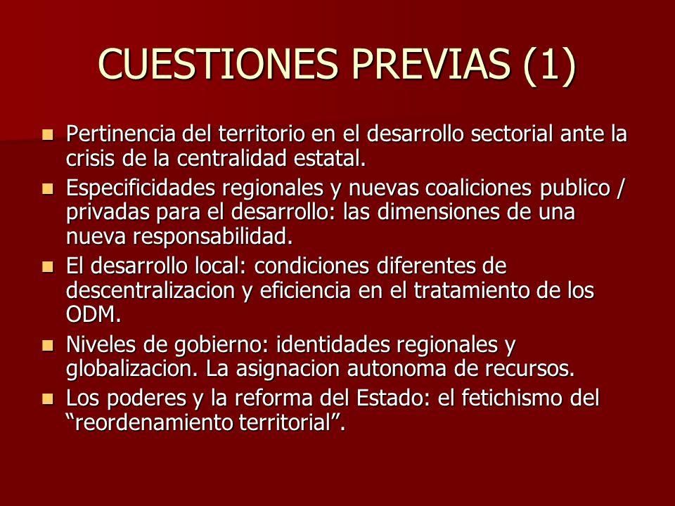 CUESTIONES PREVIAS (1) Pertinencia del territorio en el desarrollo sectorial ante la crisis de la centralidad estatal.