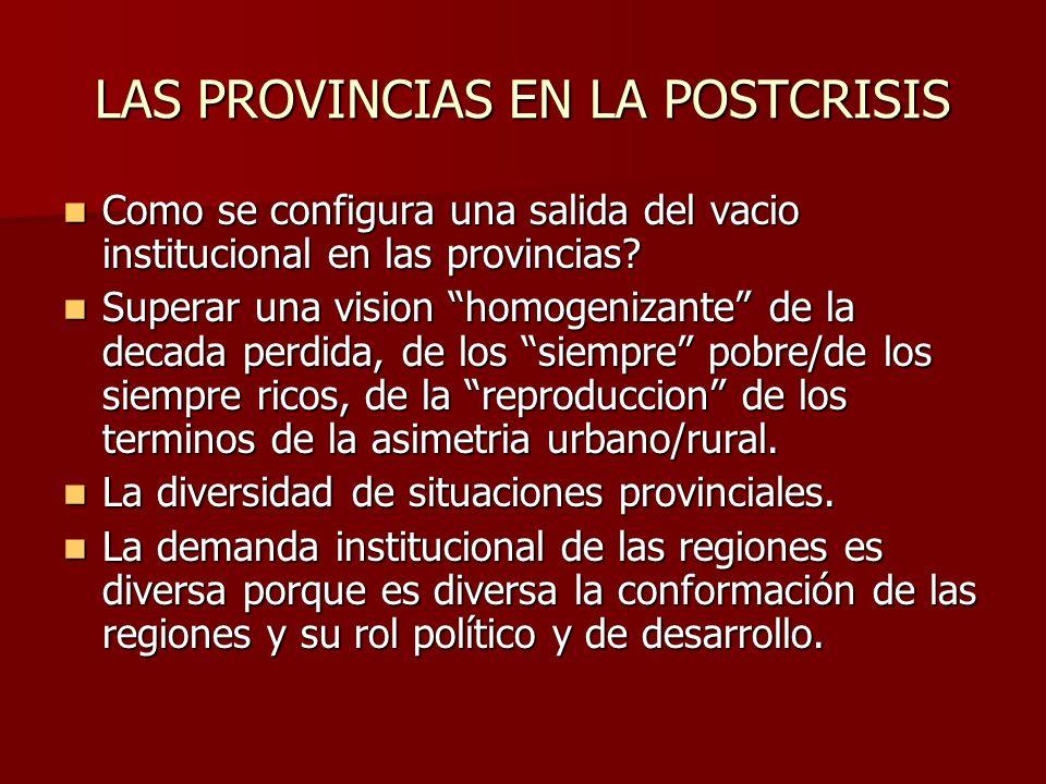 LAS PROVINCIAS EN LA POSTCRISIS Como se configura una salida del vacio institucional en las provincias.
