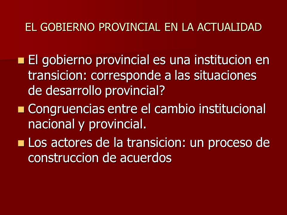 EL GOBIERNO PROVINCIAL EN LA ACTUALIDAD El gobierno provincial es una institucion en transicion: corresponde a las situaciones de desarrollo provincial.