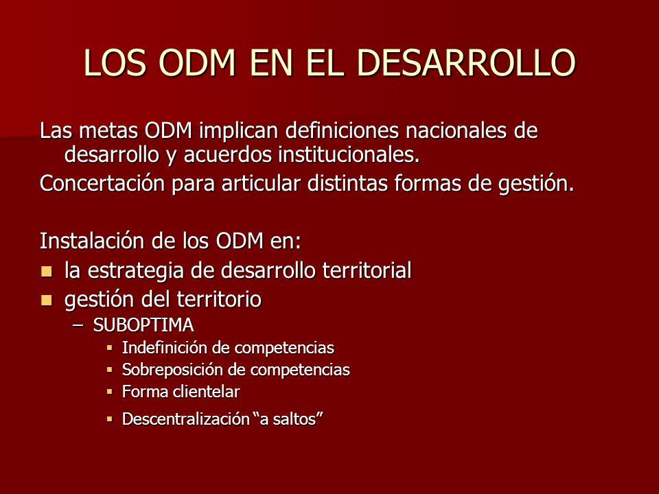 LOS ODM EN EL DESARROLLO Las metas ODM implican definiciones nacionales de desarrollo y acuerdos institucionales.