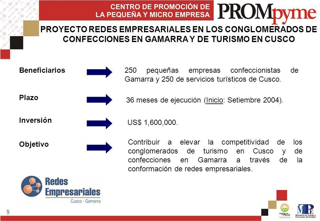 9 Beneficiarios250 pequeñas empresas confeccionistas de Gamarra y 250 de servicios turísticos de Cusco. Plazo 36 meses de ejecución (Inicio: Setiembre