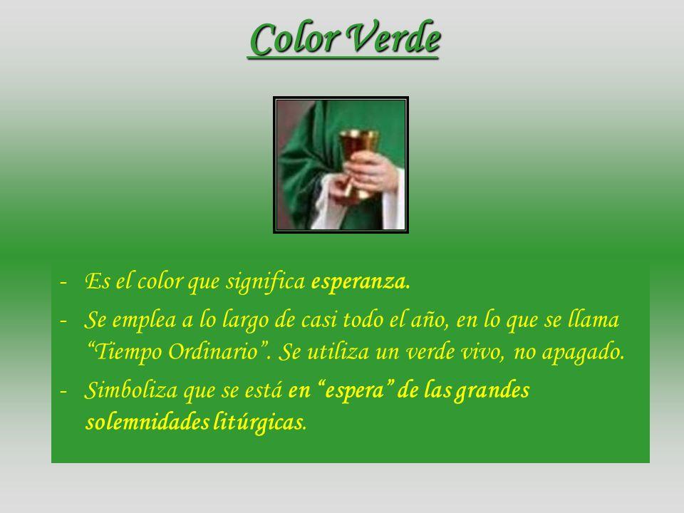 Color Violeta o Rojo-Morado -Es señal de penitencia, dolor y también de esperanza tras el dolor. -Se emplea en los tiempos penitenciales; es decir, en