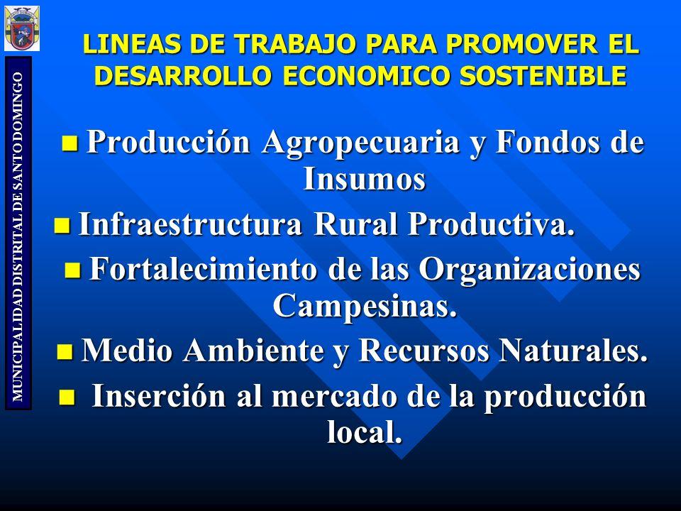 MUNICIPALIDAD DISTRITAL DE SANTO DOMINGO LINEAS DE TRABAJO PARA PROMOVER EL DESARROLLO ECONOMICO SOSTENIBLE Producción Agropecuaria y Fondos de Insumo