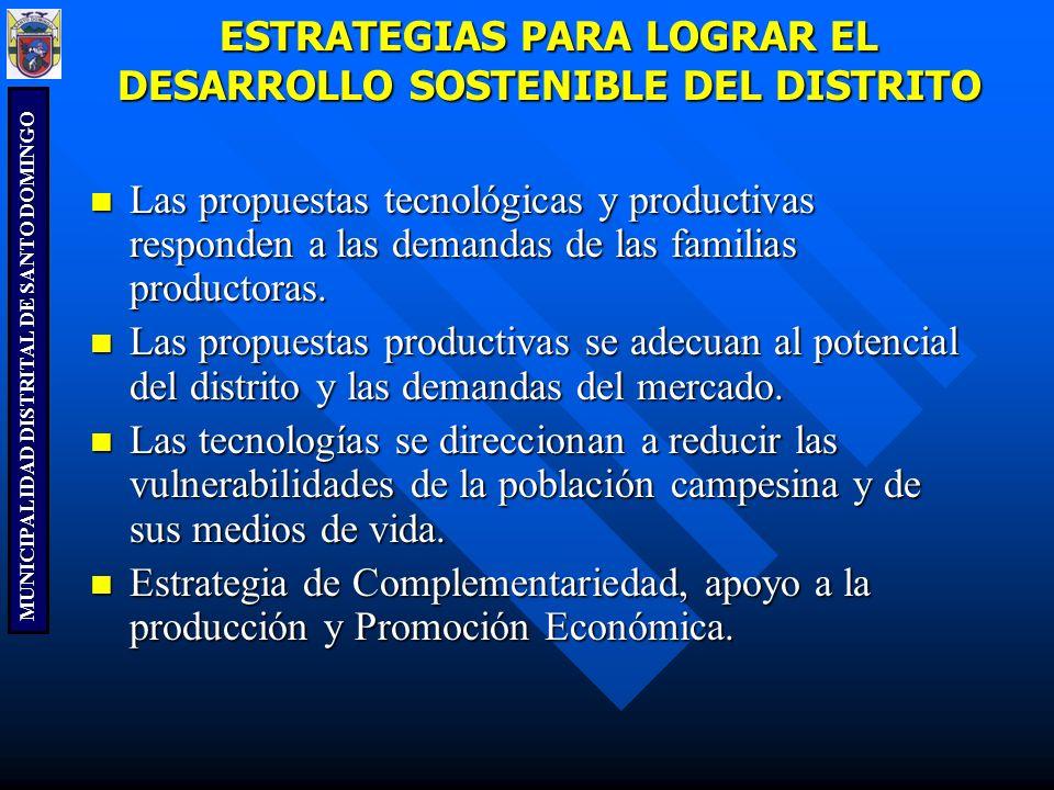 MUNICIPALIDAD DISTRITAL DE SANTO DOMINGO ESTRATEGIAS PARA LOGRAR EL DESARROLLO SOSTENIBLE DEL DISTRITO Las propuestas tecnológicas y productivas respo