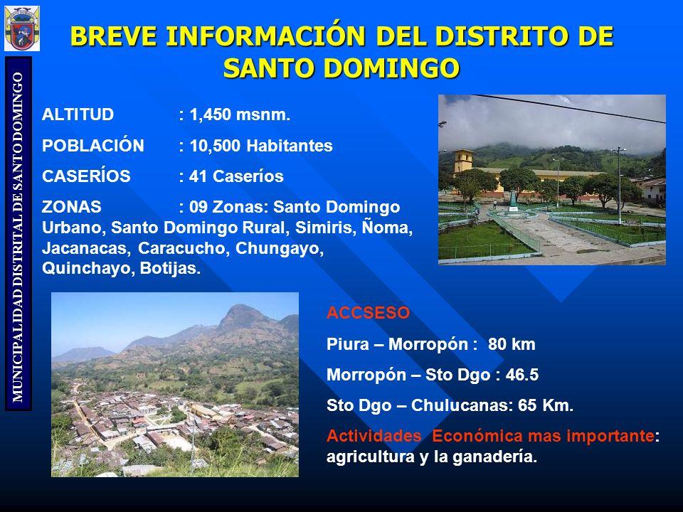 MUNICIPALIDAD DISTRITAL DE SANTO DOMINGO BREVE INFORMACIÓN DEL DISTRITO DE SANTO DOMINGO ALTITUD: 1,450 msnm. POBLACIÓN: 10,500 Habitantes CASERÍOS: 4