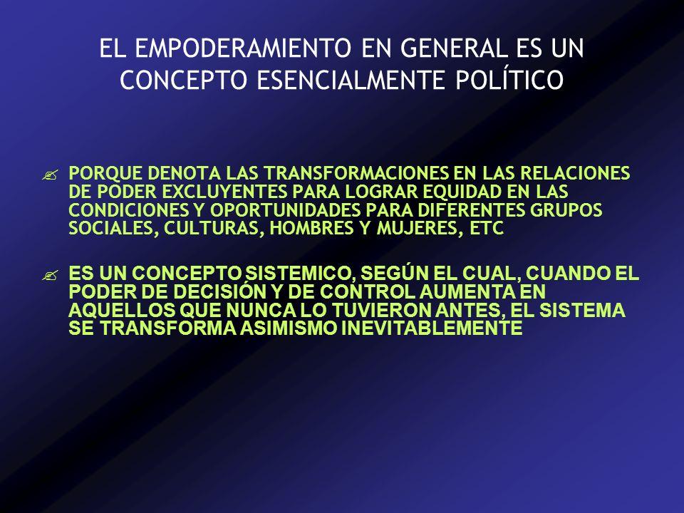 EL EMPODERAMIENTO EN GENERAL ES UN CONCEPTO ESENCIALMENTE POLÍTICO PORQUE DENOTA LAS TRANSFORMACIONES EN LAS RELACIONES DE PODER EXCLUYENTES PARA LOGRAR EQUIDAD EN LAS CONDICIONES Y OPORTUNIDADES PARA DIFERENTES GRUPOS SOCIALES, CULTURAS, HOMBRES Y MUJERES, ETC ES UN CONCEPTO SISTEMICO, SEGÚN EL CUAL, CUANDO EL PODER DE DECISIÓN Y DE CONTROL AUMENTA EN AQUELLOS QUE NUNCA LO TUVIERON ANTES, EL SISTEMA SE TRANSFORMA ASIMISMO INEVITABLEMENTE