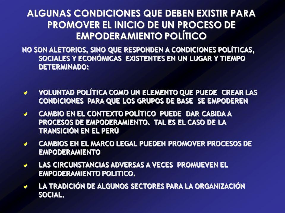 ALGUNAS CONDICIONES QUE DEBEN EXISTIR PARA PROMOVER EL INICIO DE UN PROCESO DE EMPODERAMIENTO POLÍTICO NO SON ALETORIOS, SINO QUE RESPONDEN A CONDICIONES POLÍTICAS, SOCIALES Y ECONÓMICAS EXISTENTES EN UN LUGAR Y TIEMPO DETERMINADO: VOLUNTAD POLÍTICA COMO UN ELEMENTO QUE PUEDE CREAR LAS CONDICIONES PARA QUE LOS GRUPOS DE BASE SE EMPODEREN VOLUNTAD POLÍTICA COMO UN ELEMENTO QUE PUEDE CREAR LAS CONDICIONES PARA QUE LOS GRUPOS DE BASE SE EMPODEREN CAMBIO EN EL CONTEXTO POLÍTICO PUEDE DAR CABIDA A PROCESOS DE EMPODERAMIENTO.