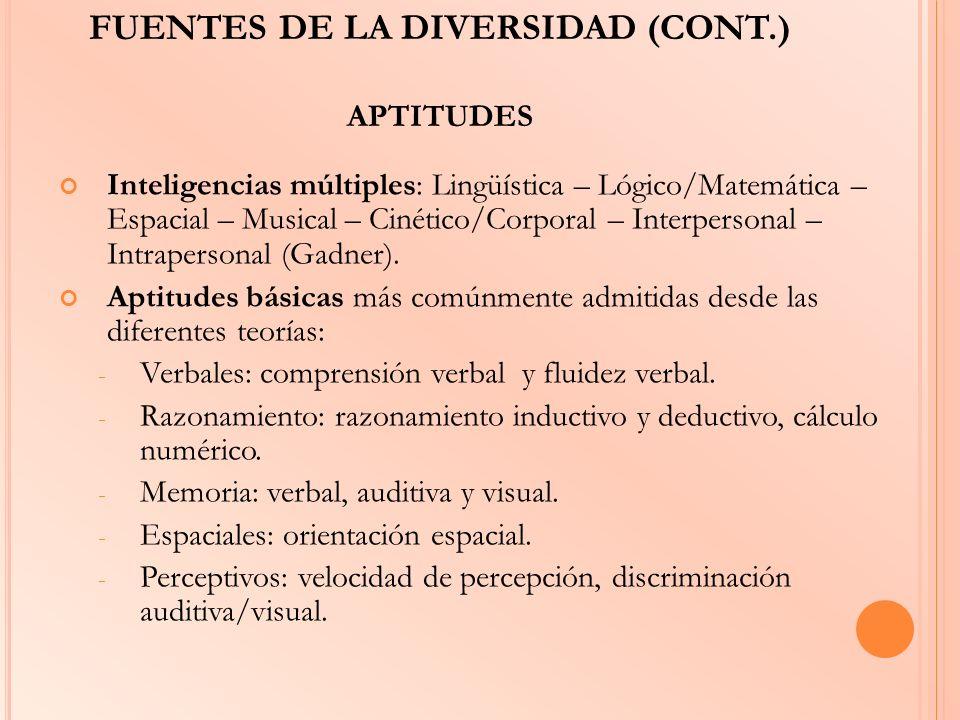 FUENTES DE LA DIVERSIDAD (CONT.) APTITUDES Inteligencias múltiples: Lingüística – Lógico/Matemática – Espacial – Musical – Cinético/Corporal – Interpe