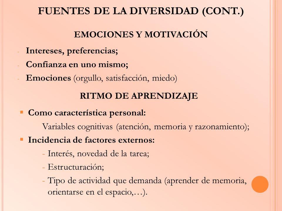FUENTES DE LA DIVERSIDAD (CONT.) EMOCIONES Y MOTIVACIÓN - Intereses, preferencias; - Confianza en uno mismo; - Emociones (orgullo, satisfacción, miedo