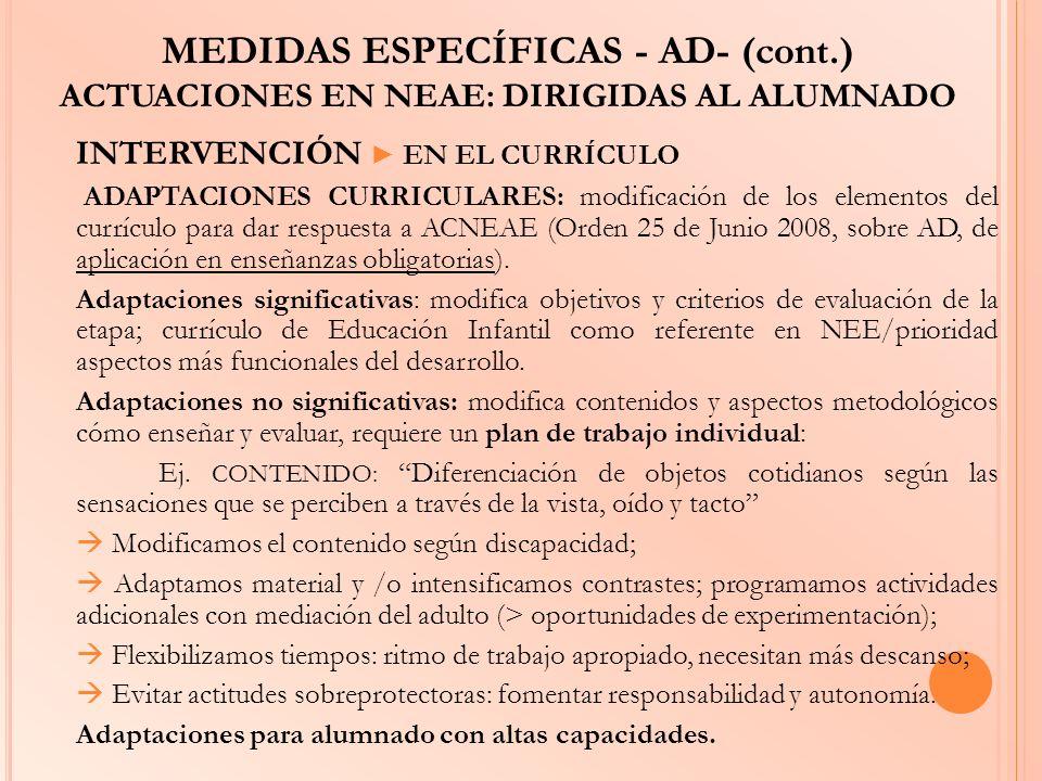 MEDIDAS ESPECÍFICAS - AD- (cont.) ACTUACIONES EN NEAE: DIRIGIDAS AL ALUMNADO INTERVENCIÓN EN EL CURRÍCULO ADAPTACIONES CURRICULARES: modificación de l